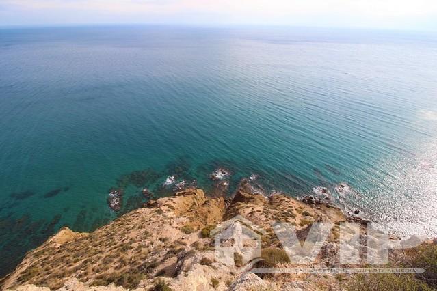Clear blue sea immediately below the villa