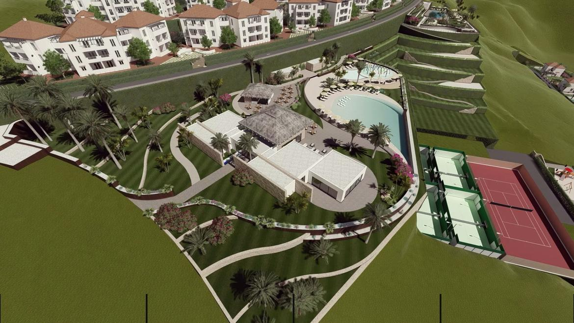 Small Oasis Render Exterior Club House Aerial 1