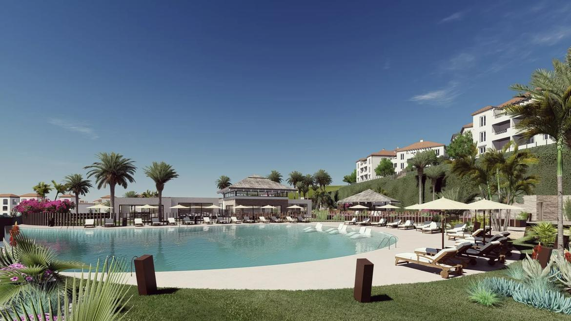 Small Oasis Render Exterior Club House Pool 1