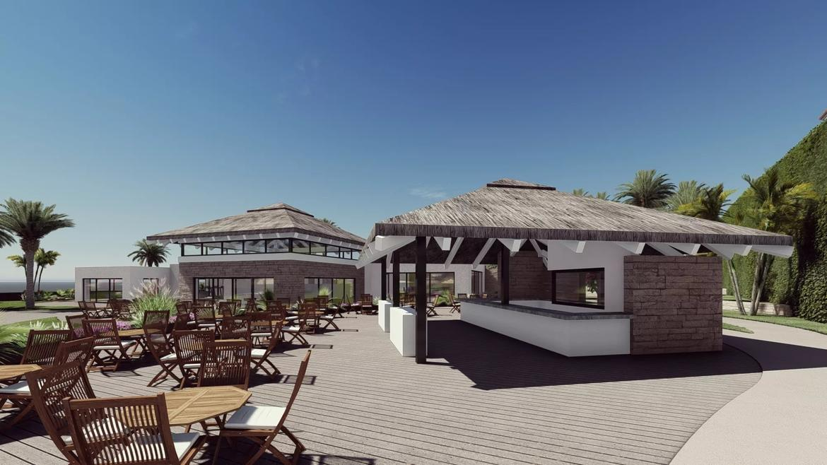 Small Oasis Render Exterior Club House Deck